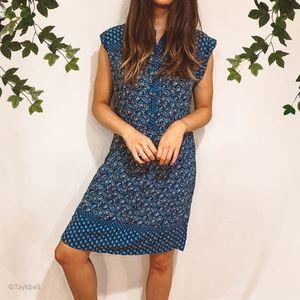 LOFT Outlet Smock Waist Dress Blue Floral Dots, L